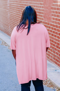 Basic Side-Slit Tee in Dark Rose