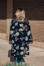 Load image into Gallery viewer, Navy Floral Tie Kimono