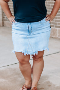 Light Wash Distressed Fitted Skirt