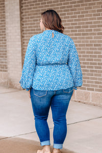 Blue Micro-Floral Top