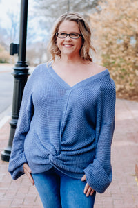 Blue Loose Knit Knot Sweater