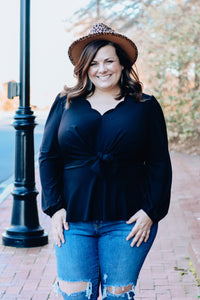 Black Peplum Knot Top