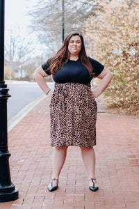 Black with Leopard Skirt Midi Dress