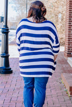 Load image into Gallery viewer, Navy Stripe Drop Sleeve Top