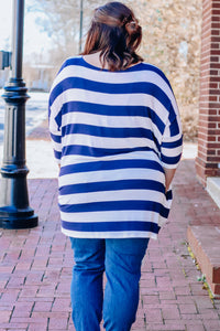 Navy Stripe Drop Sleeve Top