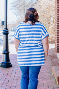 Denim Stripe Cuffed Tee