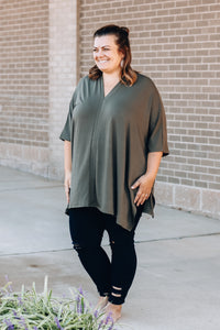 Dark Olive Poncho Top