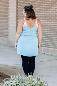Light Blue Woven Button Tank