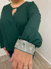 Load image into Gallery viewer, Green Wrap Front Sparkle Sleeve Top