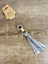 Load image into Gallery viewer, Gold/Grey Snakeskin Tassel Necklace