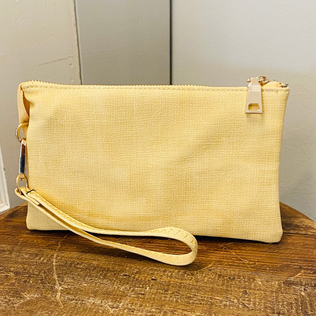 Light Yellow Textured Crossbody/Wristlet