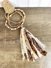 Load image into Gallery viewer, Tan Leopard Tassel Necklace