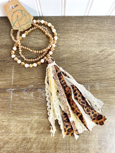 Tan Leopard Tassel Necklace