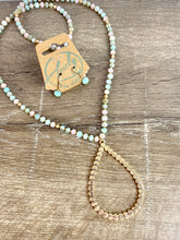 Load image into Gallery viewer, Rose/Teal/Gold Beaded Teardrop Necklace