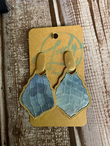 Gold/Blue Snakeskin Dangle