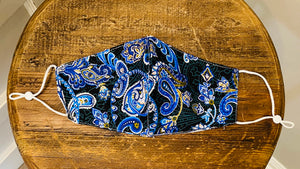 Black Blue Paisley Mask