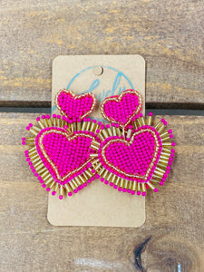 Pink and Gold Fringe Beaded Earrings