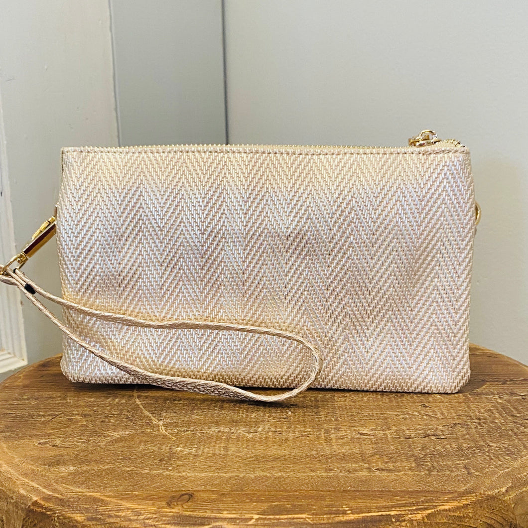 Gold Textured Crossbody/Wristlet