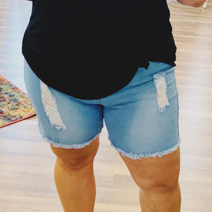 Light Wash Distressed Cut-off Jean Shorts