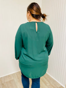 Green Wrap Front Sparkle Sleeve Top