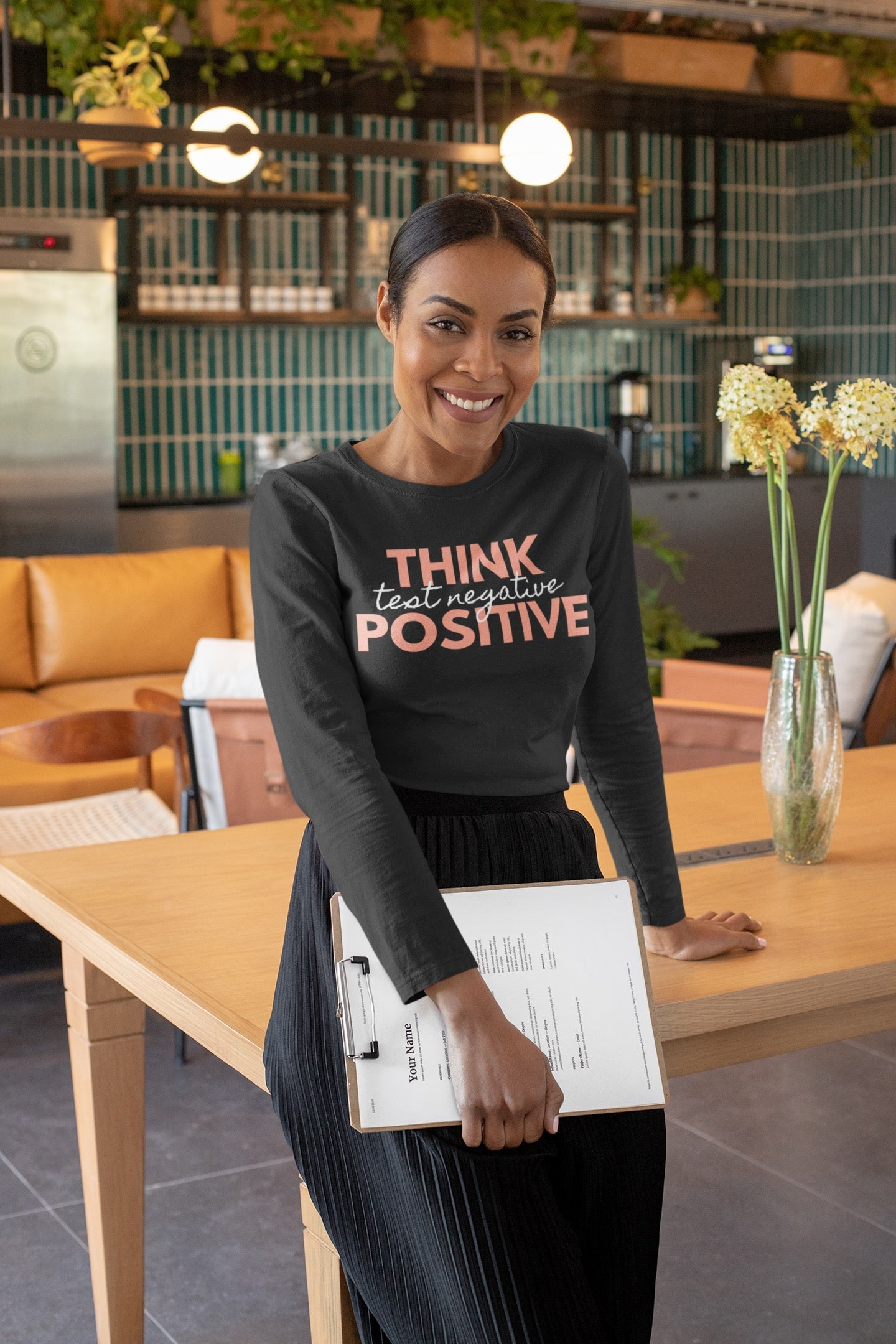 Think Positive Test Negative Long Sleeve T Shirt on black business woman