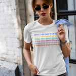 Will You Shut Up Man Biden quote tshirt on white female influencer