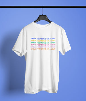 Will You Shut Up Man Biden quote tshirt on hanger,