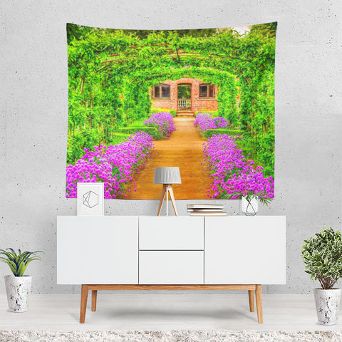 Earth Spring Flower Garden Building Bush Purple Fl Tapestry