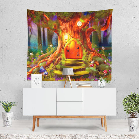 Fantasy Forest Artistic Tree Flower House Colors C Tapestry