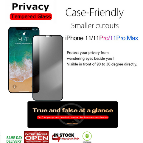 iPhone 11 Pro Max / 11 Pro / 11 Privacy Antispy Tempered Glass