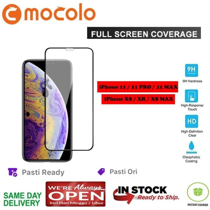 iPhone 11 / 11 Pro / 11 Max / XS XR XSMax Mocolo Tempered Glass FULL