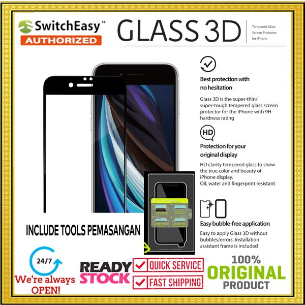 iPhone SE 2020 / 8 / 7 SWITCHEASY 3D Tools Tempered Glass (0.33mm)