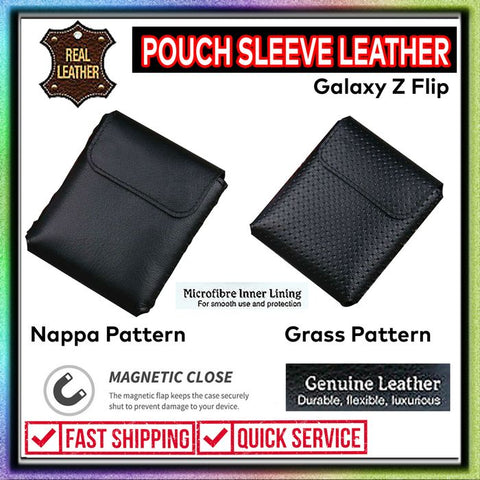 Samsung Galaxy Z Flip Leather Case Poch Sleeve (GEUNINE LEATHER)