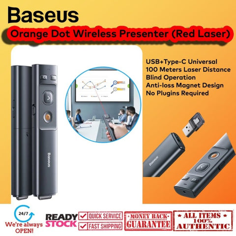 Baseus Orange Dot Wireless Presenter (Red Laser) USB Type C Universal