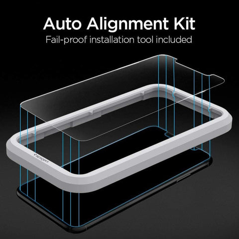 iPhone 11 Pro Max /11 Pro /11 Tempered Spigen AlignMaster Slim-2 Pack