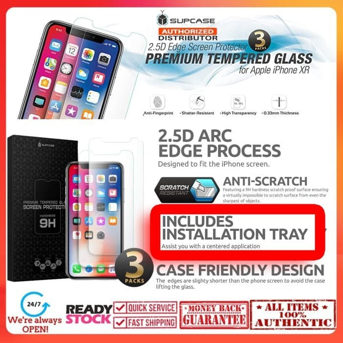 iPhone 11 / iPhone XR SUPCASE Premium Tempered Glass 0.33MM (3Pack)