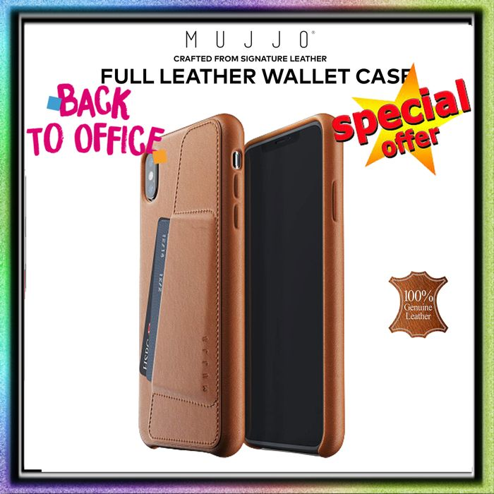 iPhone XS MAX Mujjo Full Leather WALLET Case Premium Genuine Leather