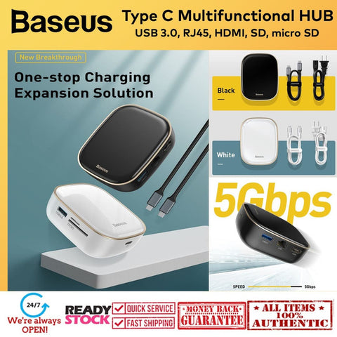 Baseus Type-C USB-C HUB Adapter Multifunctional Charger RJ45 LAN 60wPD