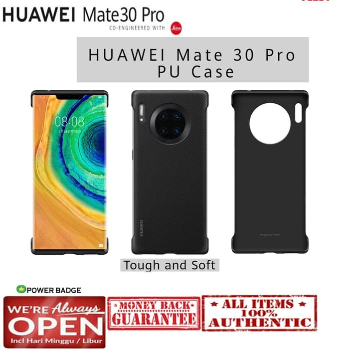 Original HUAWEI Mate 30 Pro Back Case Leather (Carbon Black) OFFICIAL