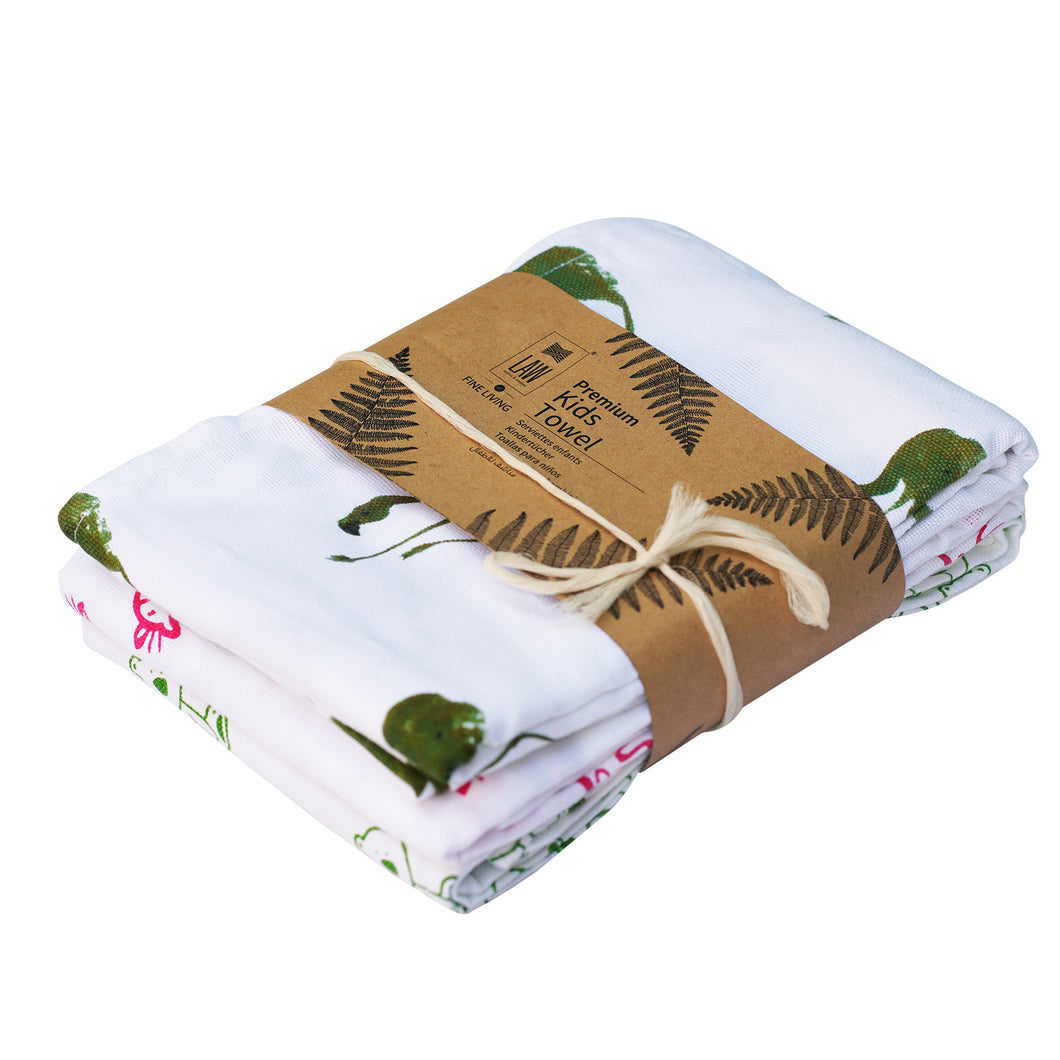 3 Assorted Premium Kids Towels With Green Flemingo Design (120x70 cm)
