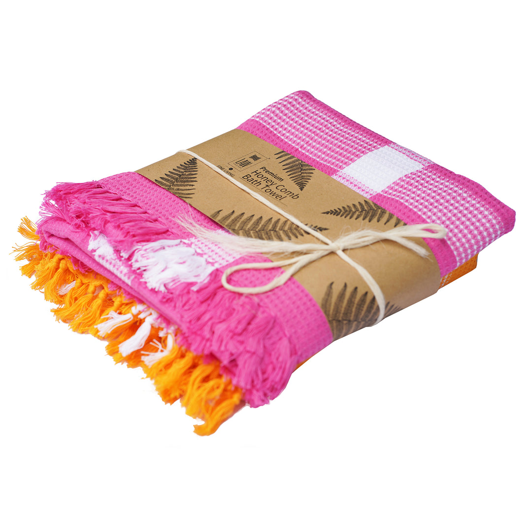 2 Handwoven Honey Comb Turkey Towels Pink & Light Yellow (60 X 30 Inch)