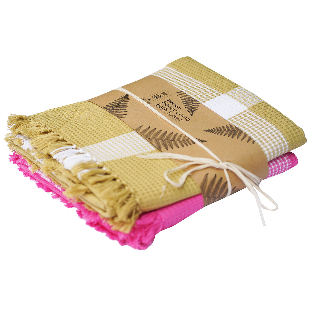 2 Handwoven Honey Comb Turkey Towels Pink & Pastel Green 60 X 30 Inch