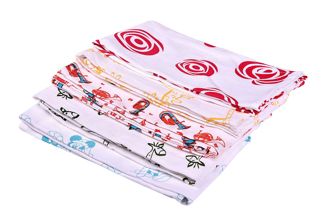 5 Assorted Cotton Hand  & Face Towels – Ultra Soft, Light Weight and Highly Absorbent /Unisex  (45 cm x 75 cm) - weaveskart.com - LAW India (looms & weaves)