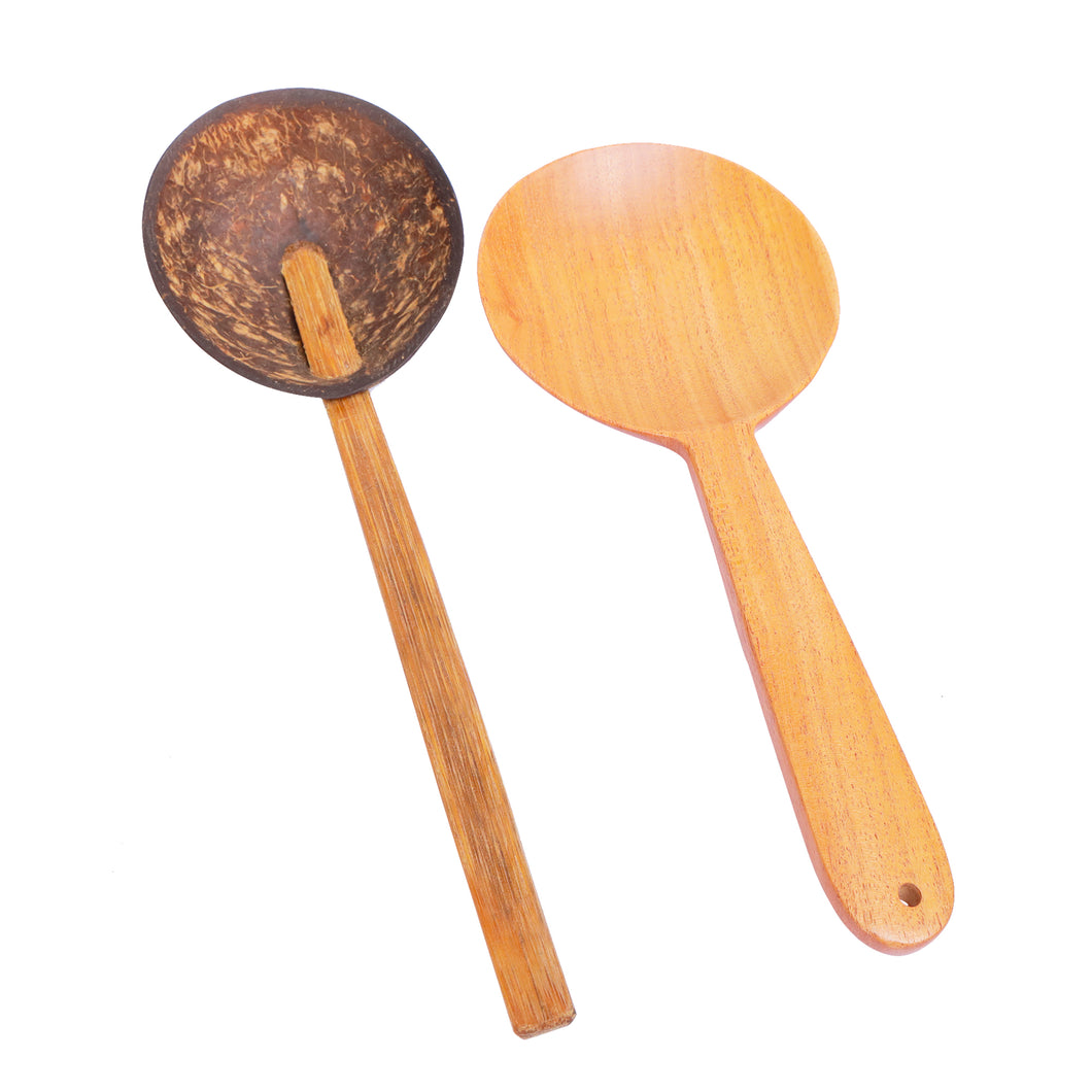 Combo Pack of Coconut Shell & Neem wood Rice Serving Spoons (2 Nos)