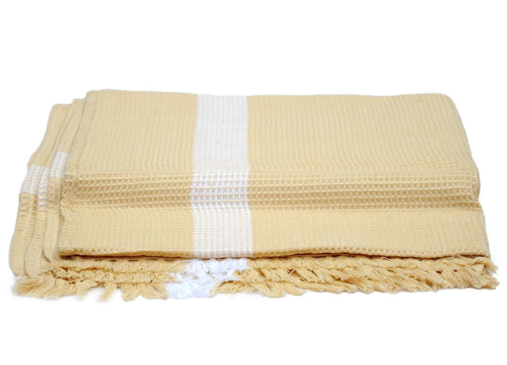 Handwoven Honey Comb Turkey Towels (60 Inch X 30 Inch) - Ultra Soft, Light Weight and Highly Absorbent- Unisex - weaveskart.com - LAW India (looms & weaves)