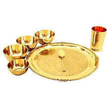 Load image into Gallery viewer, Luxury Dinner Set -1 Thali, 4 Bowls,1 Glass &1 Spoon