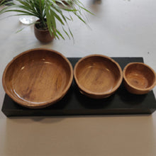 Load image into Gallery viewer, Premium Wooden Bowls - Set of 3 pieces - Food Safe/ Acacia Wood/Can serve Hot/Cold Meal
