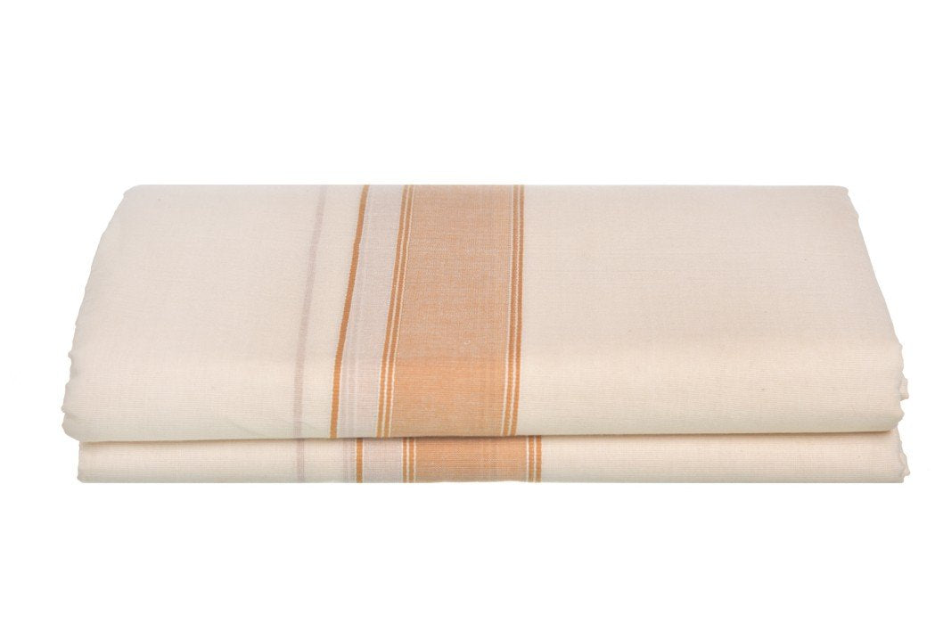 Kerala Handloom Off-White Dhoti With Mustard Yellow Stripe (200x130cm) - weaveskart.com - LAW India (looms & weaves)
