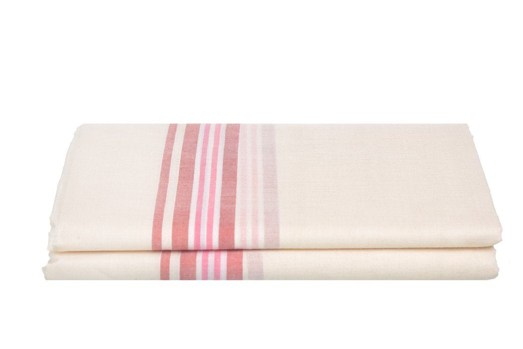Kerala Handloom Off-White Dhoti With Multicolour Stripes (200x130 cm) - weaveskart.com - LAW India (looms & weaves)