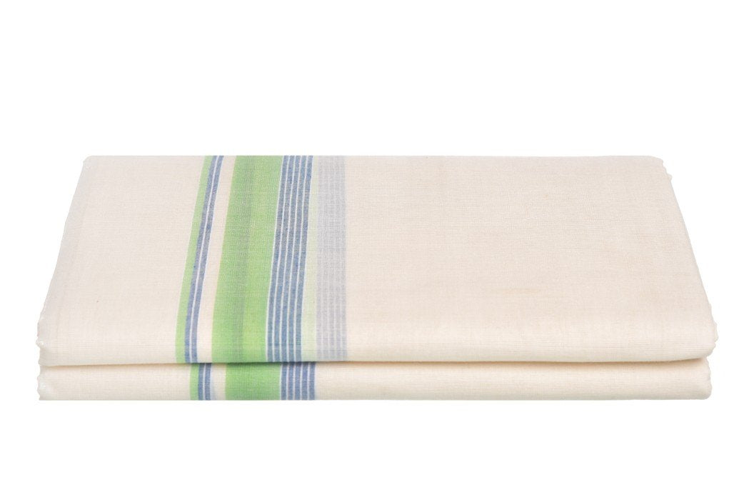 Kerala Handloom Off-White Dhoti With Multicolour Stripe (200x130 cm) - weaveskart.com - LAW India (looms & weaves)